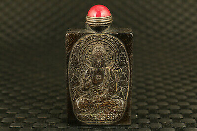 old Chinese yak horn hand crane Buddha statue snuff bottle decorate collect gift