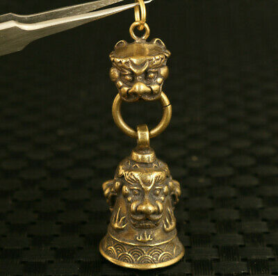 old chinese bronze hand casting Dragon bell statue home decoration pendant gift