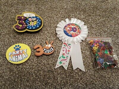 Selection of Four 30th Birthday Badges and Confetti