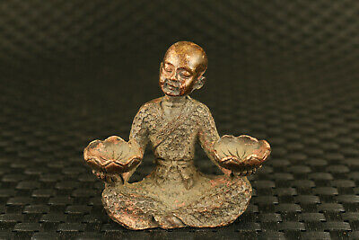 bless chinese old bronze hand cast buddha statue figure decoration collectable