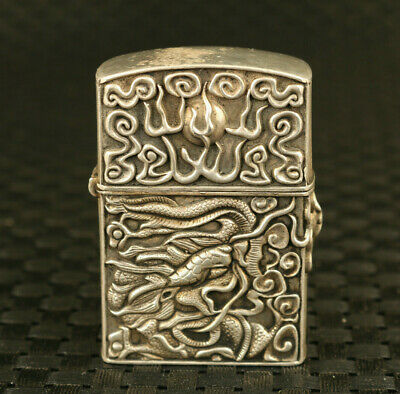 ubique chinese old tibet miao silver hand dargon Statue lighter box collectable