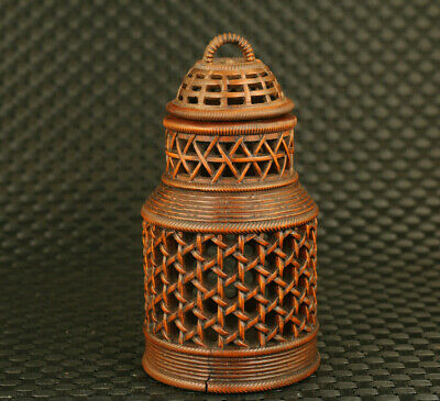 unique Chinese old collection boxwood hand statue cricket cage decoration gift