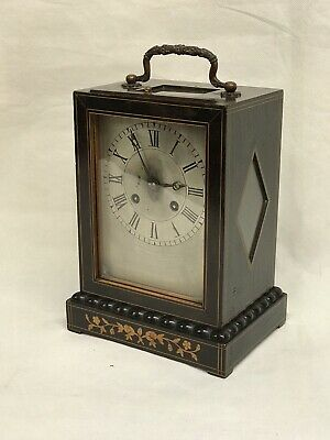 Antique French inlaid mantel clock by Laine of Paris Chimes On A Bell