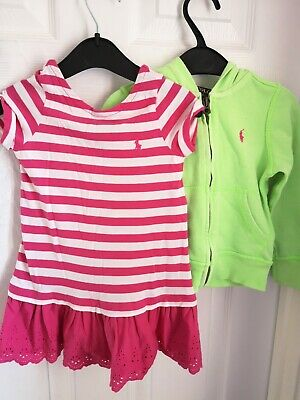 RALPH LAUREN Girls Bright Pink Polo Dress and green tracksuit top age 2