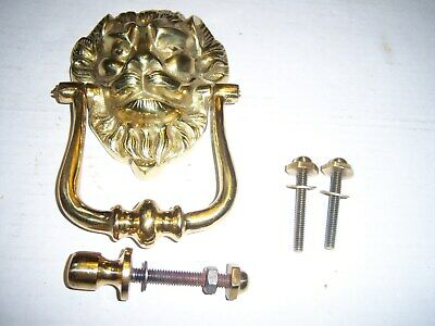 LION HEAD DOOR KNOCKER SOLID BRASS With Mounting Hardware