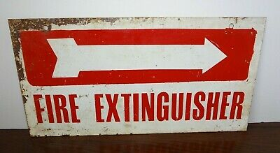 Old Fire Extinguisher Metal Sign left arrow Double sided gas station industrial