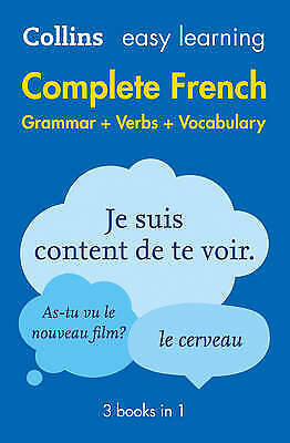 Easy Learning French Complete Grammar, Verbs and Vocabulary (3 books in 1) NEW
