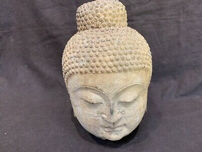Antique Chinese Tang Dynasty 800AD carved stone buddha head MUSEUM QUALITY 9.5""
