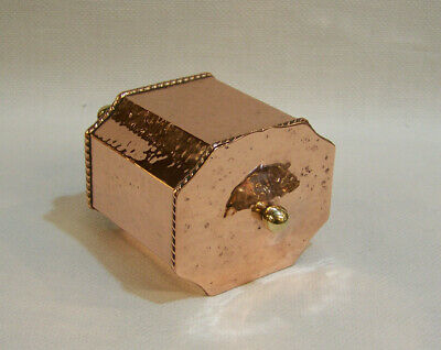 Antique Arts & Crafts Hand Beaten Copper Brass Cobral Ware Tea Caddy Tobacco Box