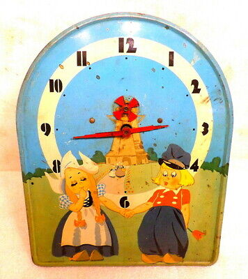 Interesting 1930's Metal Dutch Themed Plate Wall Clock With Turning Windmill