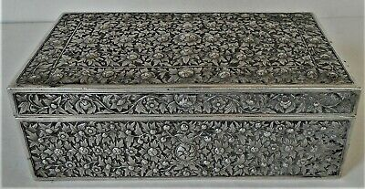 Antique Ornate Chinese Export Silver Box Elaborate Floral Decor 1880 370 G