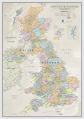Classic UK Wall Map Map Of The UK Poster Front Lamination A1 84 x 59cm