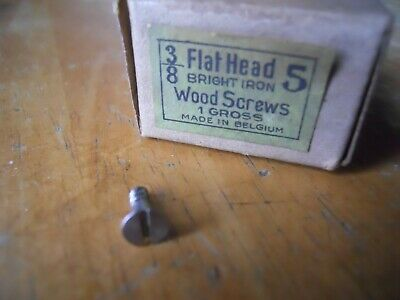 100 Vintage Flat Head Bright Iron Wood Screws 3/8 inch #5  Belgium old hardware