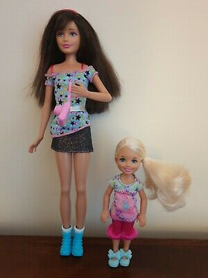 Barbie Sister Dolls Skipper With Pink Streak And Chelsea Dolls. Excellent...
