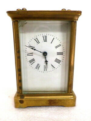 Signed H & H 1890 French  Brass 8 Day Carriage Clock With Porcelain Dial
