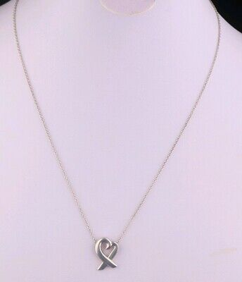 Ladies Tiffany & Co Sterling Silver Paloma Picasso Heart 16 Inch Necklace
