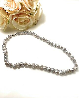 Nuvah Sterling Silver Large Baroque Freshwater Pearl Grey Necklace 16 inches