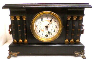 1895 American Made Pendulum Driven Mantle Clock With 6 Fluted Columns