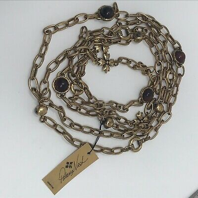 Patricia Nash Long Chain Station Necklace Antique Gold Tone Tigers Eye Damaged