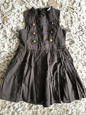Next Girls Military Style Dress Age 3 Years Black Charcoal Grey Skater