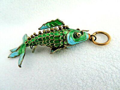 Vintage 60s Chinese Cloisonne Enamel Sterling Silver & Gilt Articulated Koi Fish