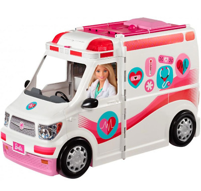 Barbie Care Clinic 2-in-1 Fun Playset Ambulance Vehicle, Mobile Hospital Kid Toy