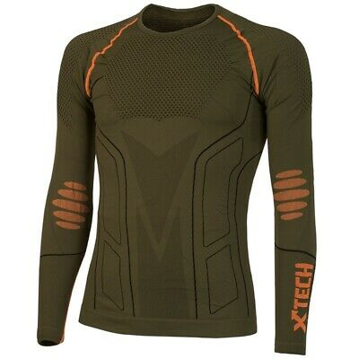 Xtech Evolution Camiseta Interior Cuello Redondo Manga Larga, Verde