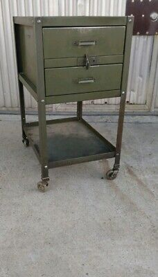 1940'S American Vintage Industrial Double-Drawer Mobile Factory Cart W/ Casters