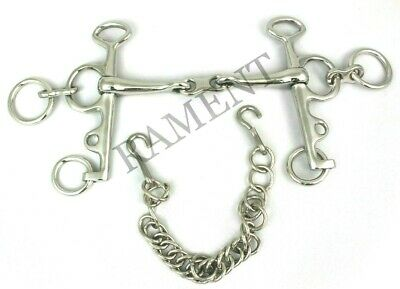 Pelham Double Jointed Horse Bit With Oval Link-100mm Stainless Steel 22416A.14SS