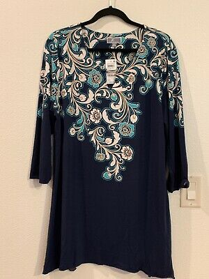 JM Collection Women's XL Deco Design Tunic 3/4 Sleeves Navy Blue NEW w/ Tag