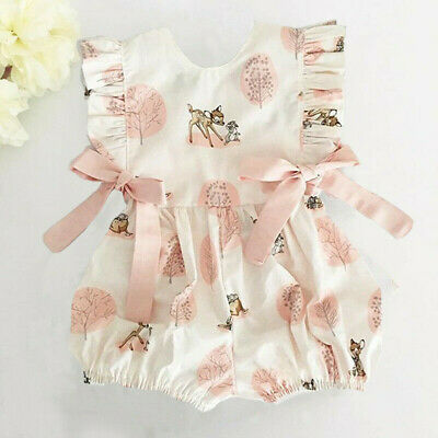Newborn Infant Baby Girl Bow Cartoon Deer Fashion Romper Jumpsuit Outfits Set
