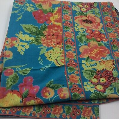 Vintage April Cornell tablecloth turquoise teal cotton floral 50 x 52 inches