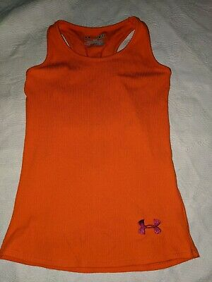 Under Armour Girls Sz. SM Fitted Orange Tank Top. Cute