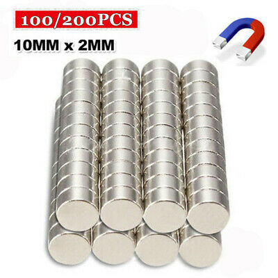 200x N35 Super Strong 10mm x 2mm Round Disc Magnets Rare Earth Neodymium Magnet