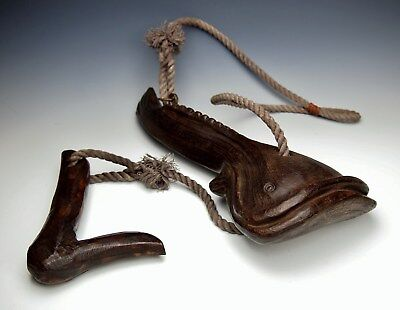FABULOUS ANTIQUE JAPANESE FISH HANGER JIZAI KAGI Carved Wood Kettle Hook Mingei