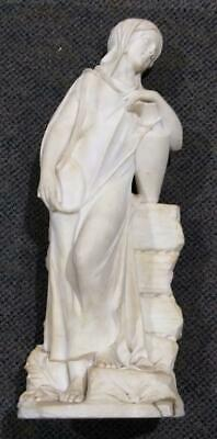 Old Antique Arabian Woman Lady Carving Alabaster Statue Art Sculpture Mission