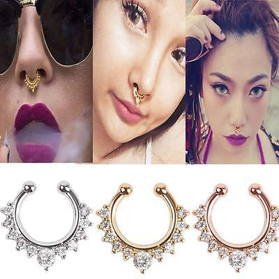 2x Fashion Fake Septum Clicker Nose Ring Non Piercing Hanger Clip Jewe HO