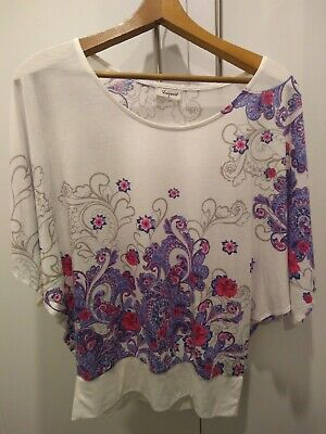 Jeans West Ladies Top Size S White Pink Purple Floral FREE POST