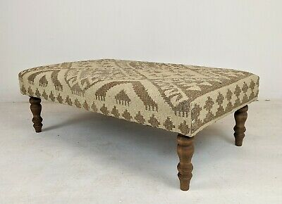 Kilim footstool Khodrang Rug / Upholstered Ottoman Coffee Table / Wool