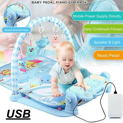 3-in-1 Baby Infant Gym Play Mat Fitness Music Piano Pedal Educational Toys  US!