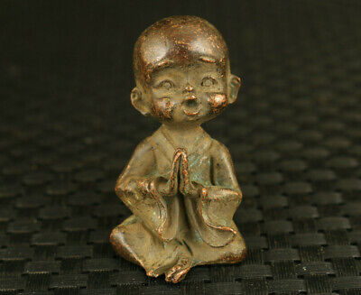 blessing chinese bronze hand casting blessing buddha statue netsuke table deco