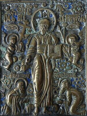 FINE ANTIQUE RUSSIAN ORTHODOX CHRISTIAN BRASS ENAMEL TRAVELLING ICON 19th CENT