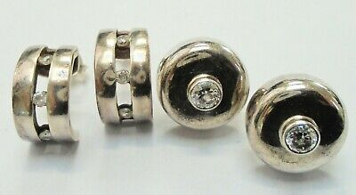 Two pairs very good quality vintage sterling silver & diamond paste earrings