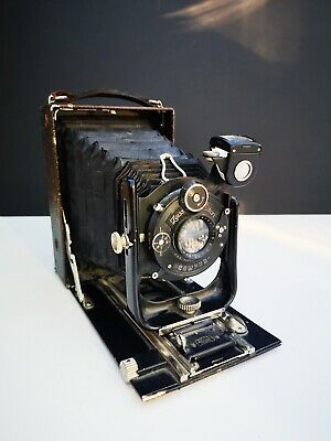 Vintage photo camera collectible Ica Maximar 207 folding with cassette and film
