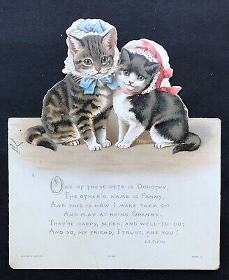 Victorian Christmas Card. Anthropomorphic Cats. Hagelberg. Double Sided.