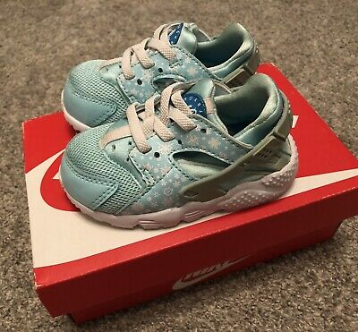 Toddler White/ Blue Lagoon Nike Run Print Huarache Trainers Size 4.5 Eur 21
