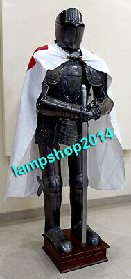Medieval Knight Wearable Black Crusader Gothic Full Body Armor Costume