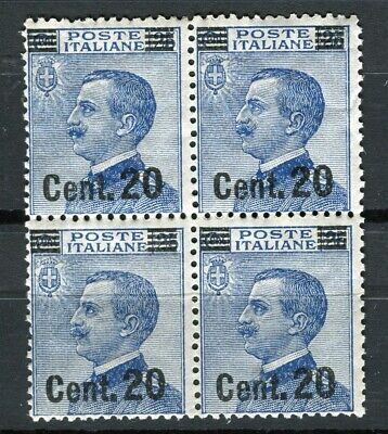 ITALY; 1923 early Emmanuel surcharged issue MINT MNH 20c. Block of 4