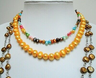 Good quality large vintage cultured pearl necklace + 2