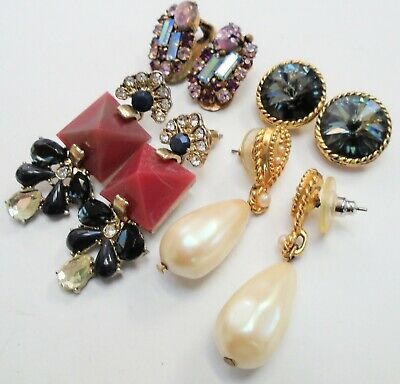 Pair good quality large vintage gold metal & pearl earrings + 3 (a.b crystal)